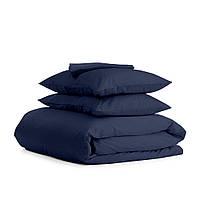 Комплект евро взрослого постельного белья сатин DARK BLUE