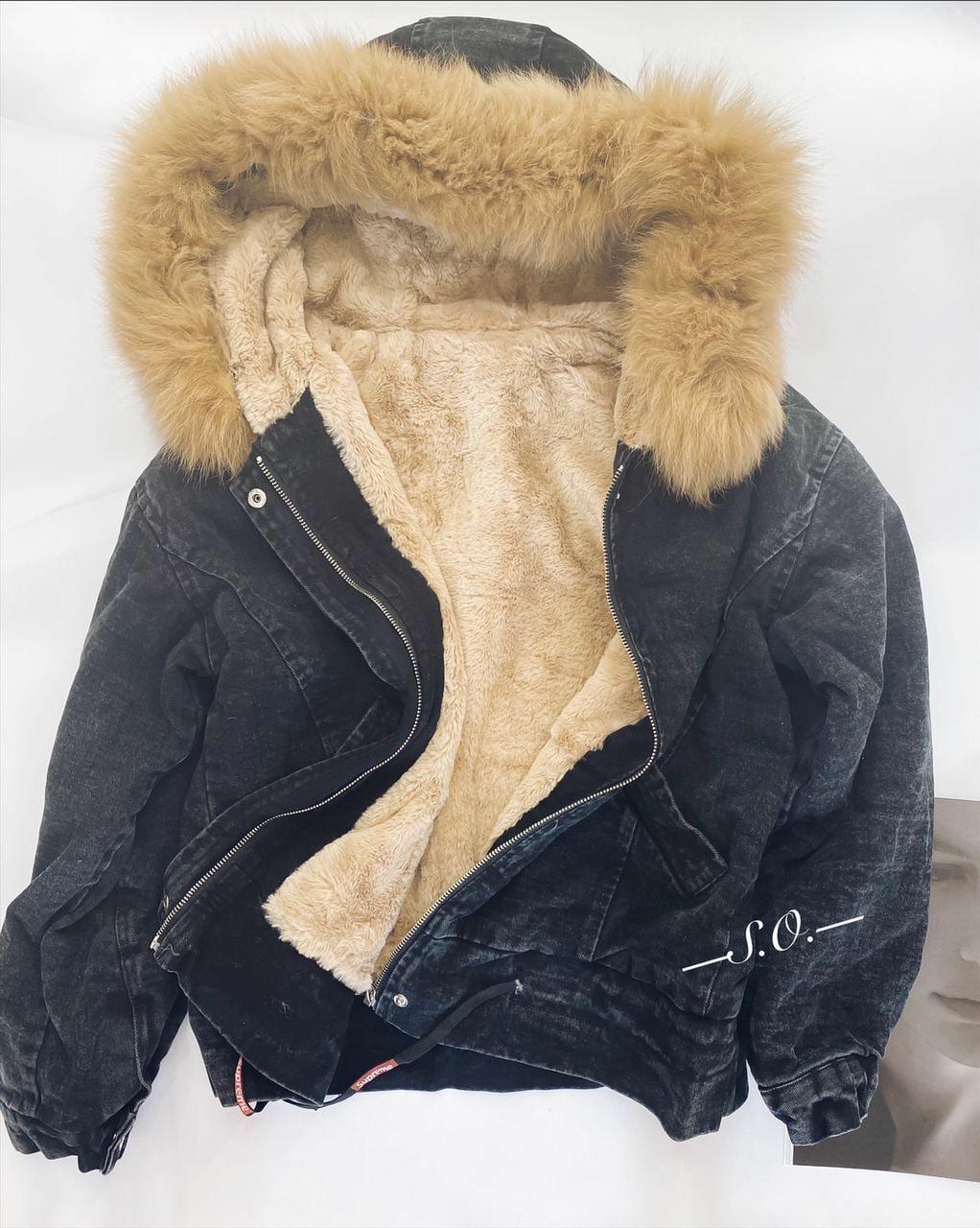 Джинсовая женская куртка с мехом 5501 (OS)