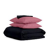 Комплект евро взрослого постельного белья сатин BLACK PUDRA-P