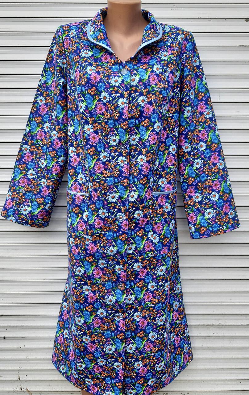 Теплый фланелевый халат 48 размер Ромашки