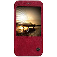 Кожаный чехол Nillkin Qin для Huawei G8 бордовый, фото 1