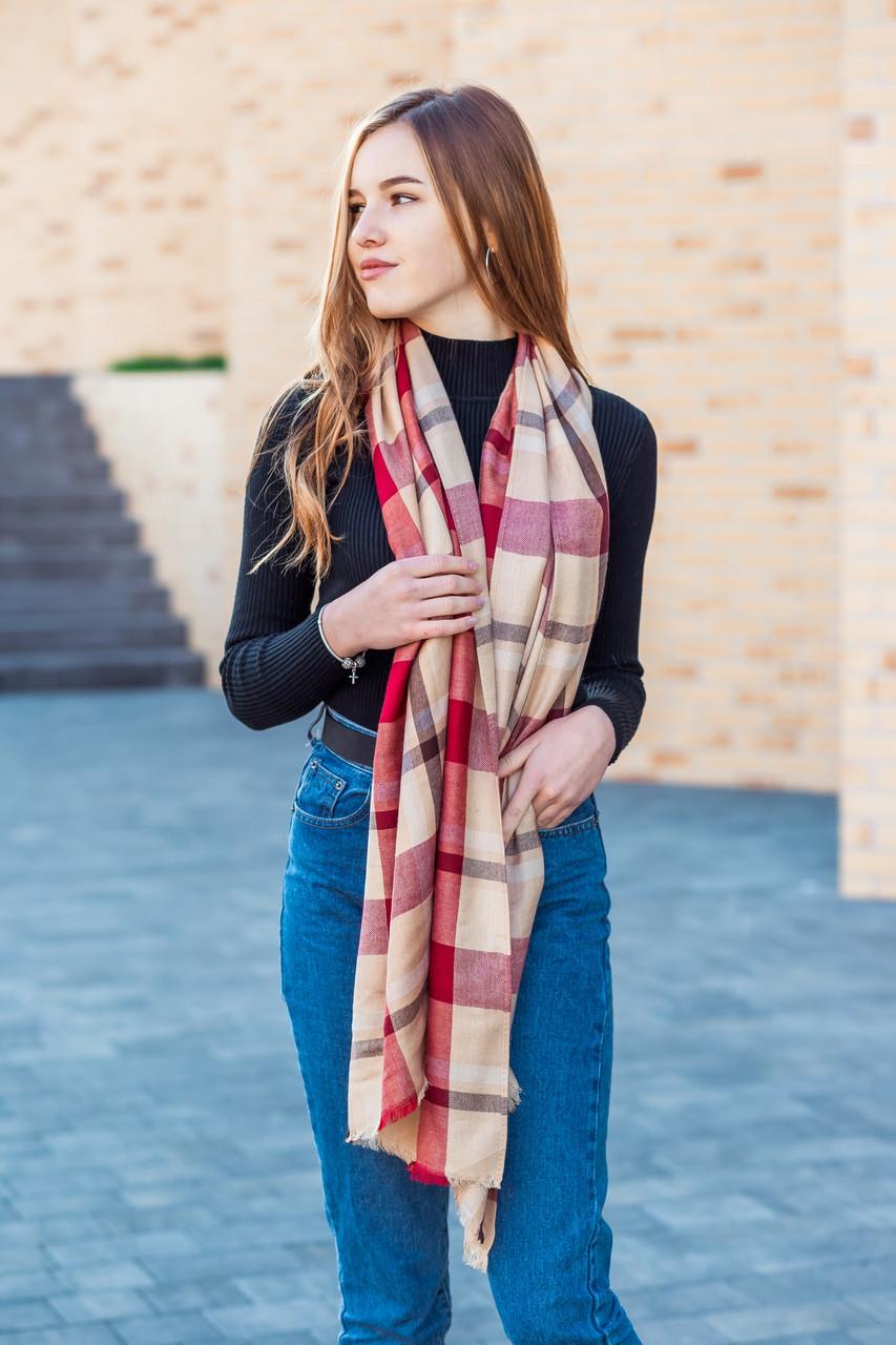Великий бордовий шарф з бавовни в клітку 190*80