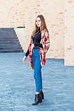 Великий бордовий шарф з бавовни в клітку 190*80, фото 5