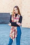 Великий бордовий шарф з бавовни в клітку 190*80, фото 2