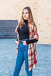 Великий бордовий шарф з бавовни в клітку 190*80, фото 3