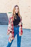 Великий бордовий шарф з бавовни в клітку 190*80, фото 6