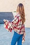 Великий бордовий шарф з бавовни в клітку 190*80, фото 4