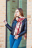 Великий бордовий шарф з бавовни в клітку 190*80, фото 7