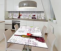 Наклейка 3Д виниловая на стол Zatarga «Вино в Париже» 600х1200 мм для домов, квартир, столов, кофейн,