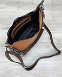 Молодежная сумка клатч через плечо женская «Луна» рыжая, маленькая сумочка на длинном ремешке, фото 3