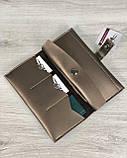 Удобный стильный кошелек-портмоне женский с кнопкой посередине Бронзовый кошелек женский из эко-кожи мягкий, фото 2