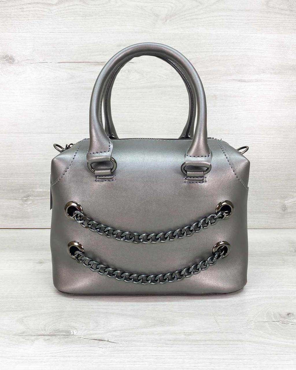 Молодежная женская сумка стильная «Jean» металлик, женская модная сумка среднего размера кожзам