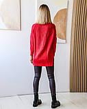 Женская теплая кофта свитер удлиненный ткань марс+акрил размер универсал 44-48, фото 3