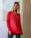 Женская теплая кофта свитер удлиненный ткань марс+акрил размер универсал 44-48, фото 4