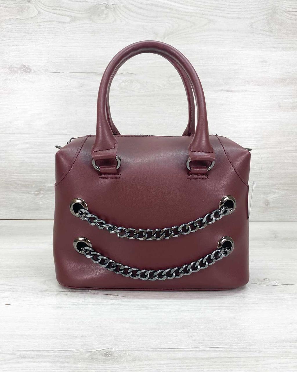 Молодежная женская сумка стильная «Jean» бордовая, женская модная сумка среднего размера кожзам