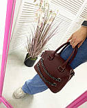 Молодежная женская сумка стильная «Jean» бордовая, женская модная сумка среднего размера кожзам, фото 2