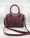 Молодежная женская сумка стильная «Jean» бордовая, женская модная сумка среднего размера кожзам, фото 4