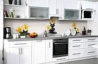 """Скинали на кухню Zatarga """"Черные камни и Цветы"""" 600х3000 мм виниловая 3Д наклейка кухонный фартук"""