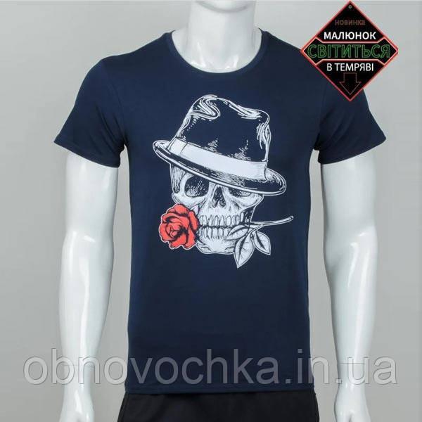 """Чоловіча футболка """"Череп з трояндою"""" темно-синя розмір  XL"""