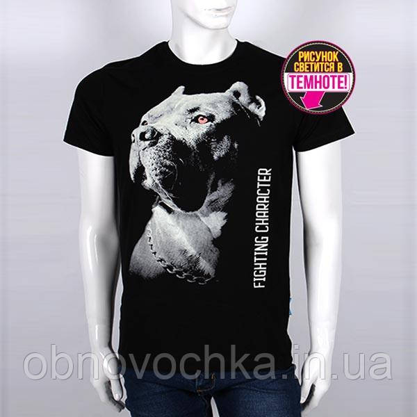 """Мужская светящаяся футболка """"Питбуль"""" размер XL"""