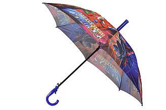 Детский зонт трость полуавтомат на 8 спиц со свистком с рисунком мультгероя Человек-паук Spaider-Man