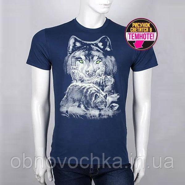 "Мужская светящаяся футболка ""Волки"" размер XL"