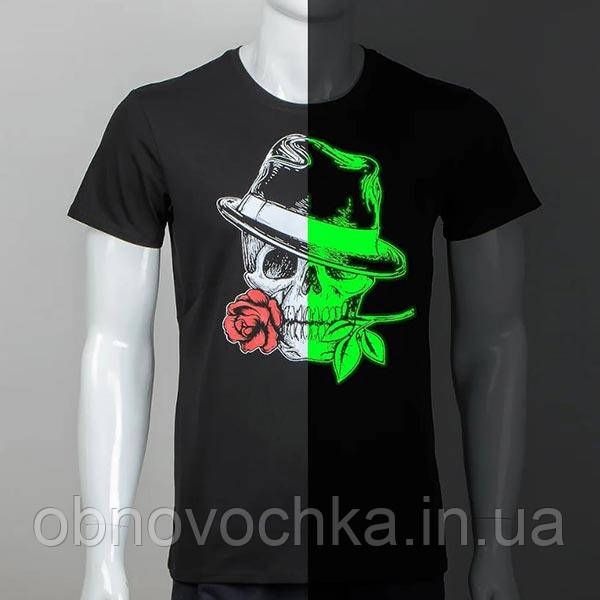 """Мужская светящаяся футболка """"Череп с розой"""" размер XXL"""