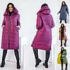 Р 42-58 Зимове пальто на змійці, з капюшоном Батал 22604-1