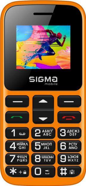 Телефон кнопочный для бабушки на 2 сим карты с фонариком Sigma Comfort 50 HIT 2020 оранжевый