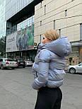 Женская короткая зимняя куртка с переливом и съемным капюшоном (р. 42-48) 8401485, фото 5