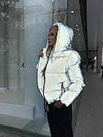 Светоотражающая женская короткая куртка со съемным капюшоном (р. 42-48) 8401486