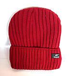 Шапка вязанная Талви удлиненная подкладка флис р.54-58 красная, фото 2