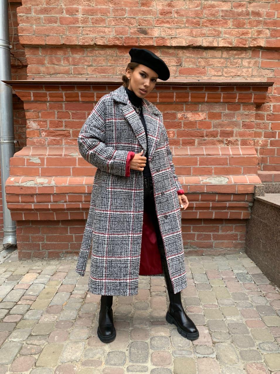 Жіноче довге пальто утеплене зі шліцом та двома кишенями під пояс (р. 42-46) 5802300