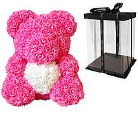 Мишка из роз 40 см в подарочной коробке / Мишка из цветов / Оригинальный подарок девушке Розовый