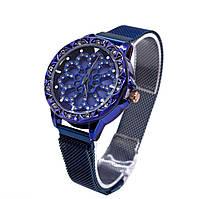 Женские часы с вращающимся крутящимся циферблатом Chanel Flower Diamond Rotation Watch Синий