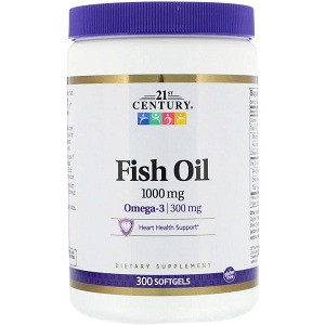 Омега 3 21st Century Fish Oil 1000 mg (300 капсул.)