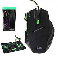 Мышка игровая UKC GAMING MOUSE + PAD X7S 7D с ковриком / Компьютерная игровая мышка с LED подсветкой