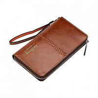Мужское портмоне-клатч Baellerry Leather + Подарок часы Коричневый, фото 1