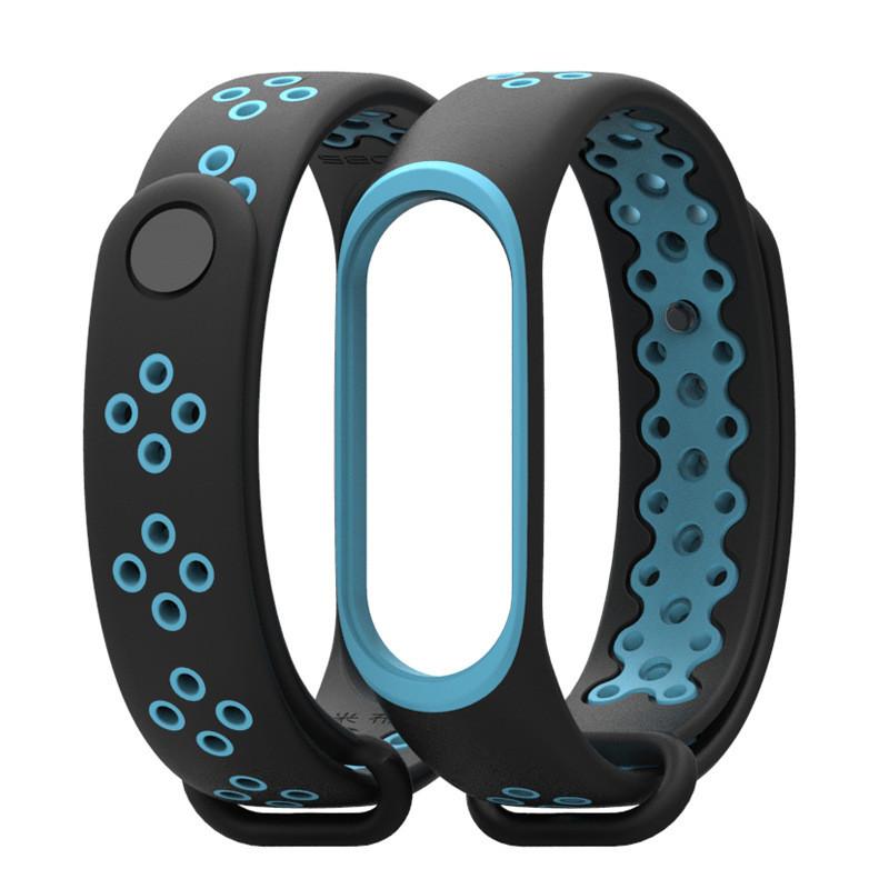 Ремешок для фитнес-браслета Xiaomi Mi Band 3 и 4, Black with blue
