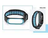 Ремешок для фитнес-браслета Xiaomi Mi Band 3 и 4, Black with blue, фото 2