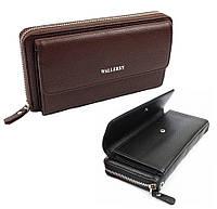 Мужской кожаный кошелек 10х20 см XY5515 Wallerry на молнии / Портмоне
