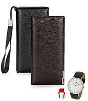 Мужской кошелек портмоне клатч Baellerry Classic New + Подарок Часы