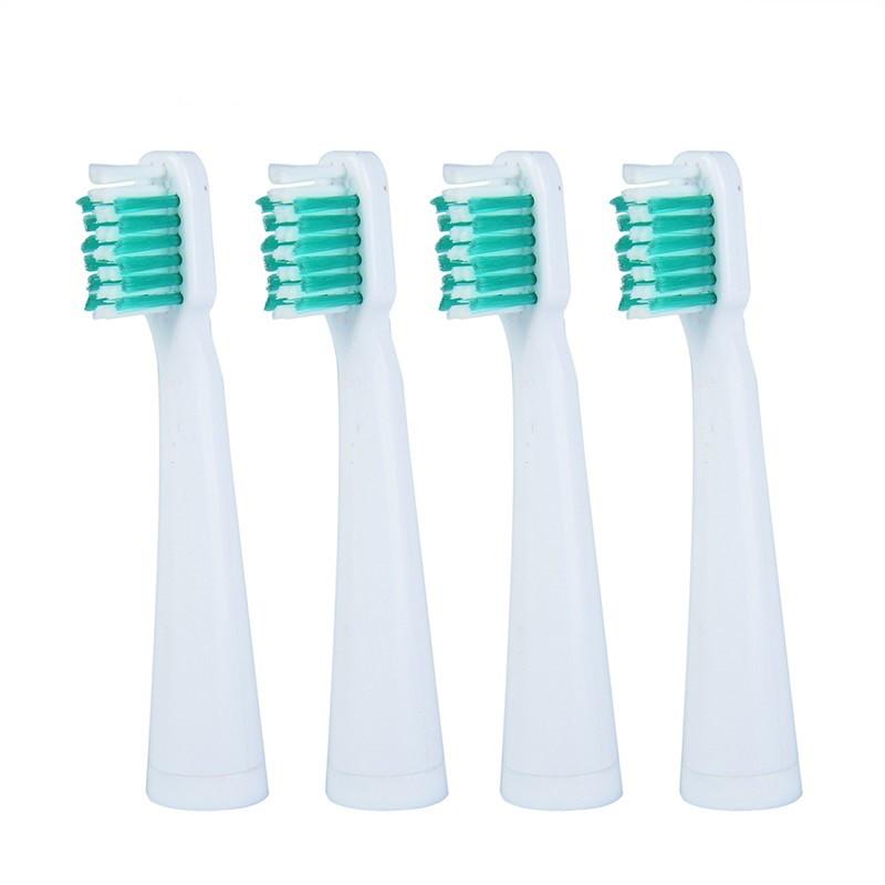 Azdent AZ-1 White with green Насадки для звукової електричної зубної щітки, 4 штуки