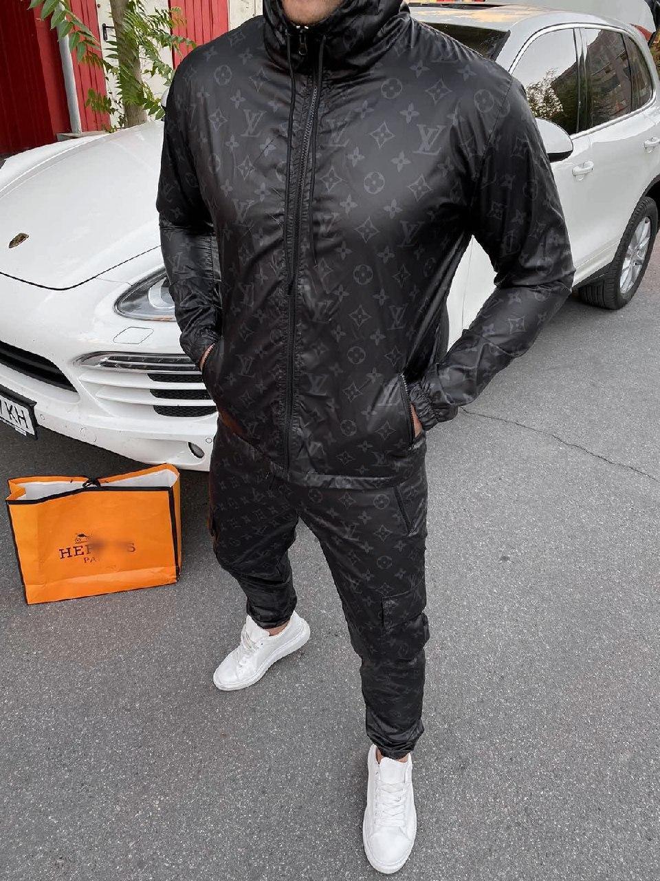 Мужской черный спортивный костюм с капюшоном Louis Vuitton
