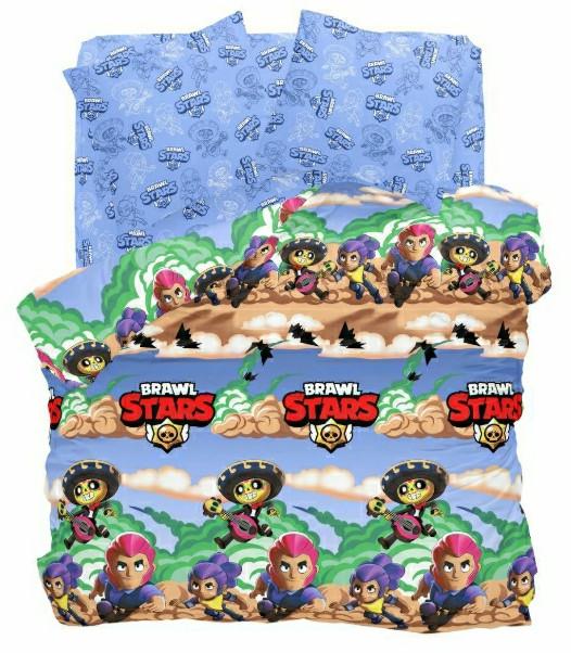 Комплект детского постельного полуторного белья Бравл Старс (Brawl Stars), Бязь Люкс, голубой