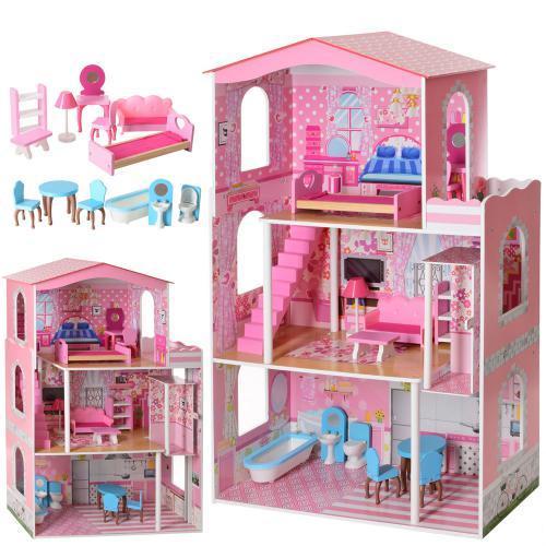 Будиночок іграшка 2413 дерев'яний з меблями для ляльок