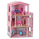 Будиночок іграшка 2413 дерев'яний з меблями для ляльок, фото 2