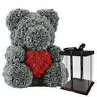 Мишка из роз 40 см в подарочной коробке / Мишка из цветов / Оригинальный подарок девушке Серый