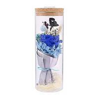 Роза в колбе с LED подсветкой (большая) / Цветок в колбе Синий