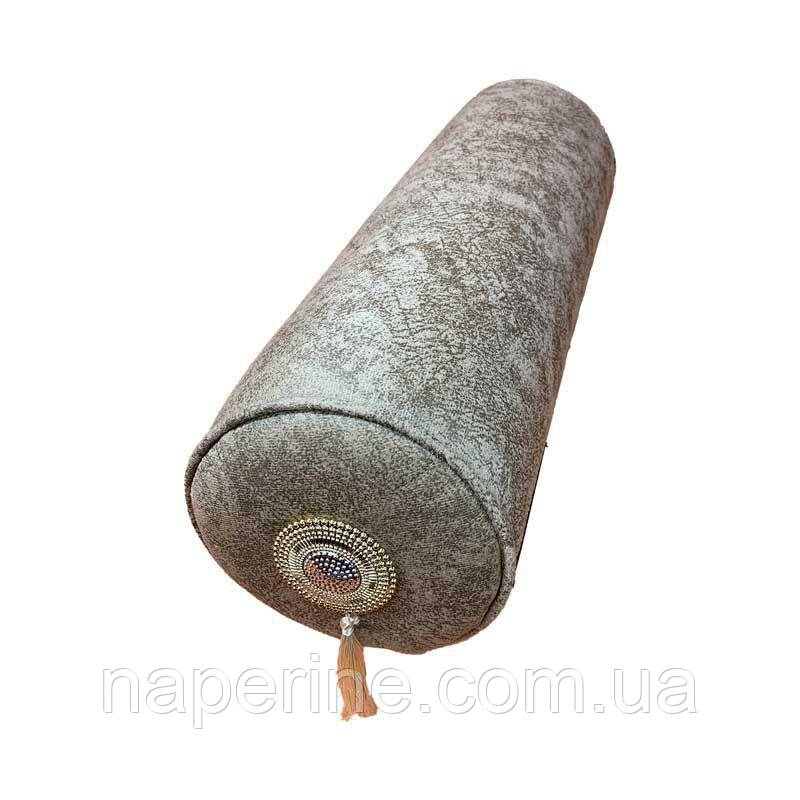 Декоративная подушка валик в восточном стиле с кисточками и камням кремовая Турция